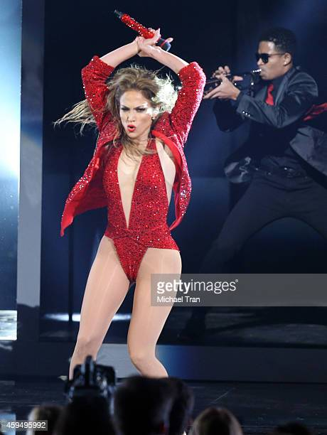 Recording artist Jennifer Lopez performs onstage during the 2014 American Music Awards held at Nokia Theatre LA Live on November 23 2014 in Los...