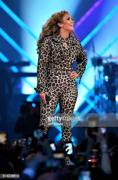 Recording artist Jennifer Lopez performs onstage during the 2018 DIRECTV NOW Super Saturday Night Concert at NOMADIC LIVE at The Armory on February 3...