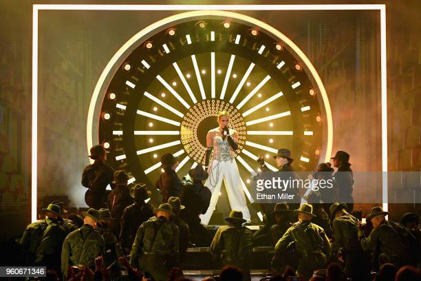 Recording artist Jennifer Lopez performs onstage during the 2018 Billboard Music Awards at MGM Grand Garden Arena on May 20 2018 in Las Vegas Nevada