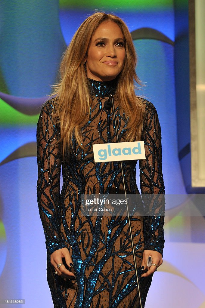 Recording Artist Jennifer Lopez speaks onstage during the 25th Annual GLAAD Media Awards at The Beverly Hilton Hotel on April 12, 2014 in Beverly Hills, California.