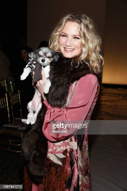 Recording artist Jennifer Nettles and Tinkerbell poses backstage for Dennis Basso fashion show during New York Fashion Week The Shows at Cipriani...