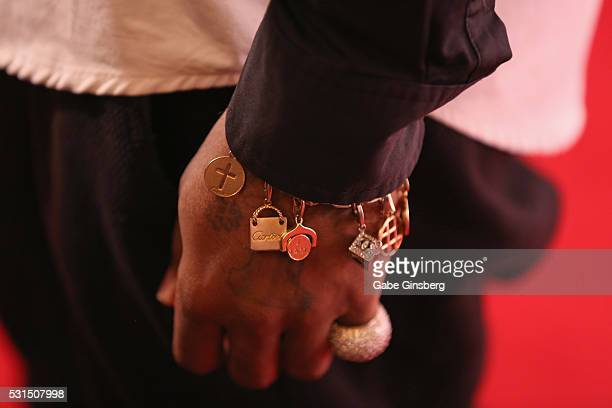 Recording artist Jermaine Dupri bracelet detail attends the grand opening of Beauty Essex at The Cosmopolitan of Las Vegas on May 14 2016 in Las...