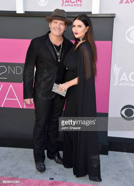 Recording artist Jerrod Niemann and Morgan Petek attend the 52nd Academy Of Country Music Awards at Toshiba Plaza on April 2 2017 in Las Vegas Nevada