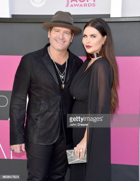 Recording artist Jerrod Niemann and Morgan Petek attends the 52nd Academy Of Country Music Awards at Toshiba Plaza on April 2 2017 in Las Vegas Nevada
