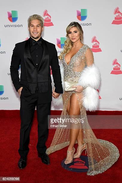 Recording artist Jesús Alberto Miranda Perez of Chino and Natasha Araos attend The 17th Annual Latin Grammy Awards at TMobile Arena on November 17...