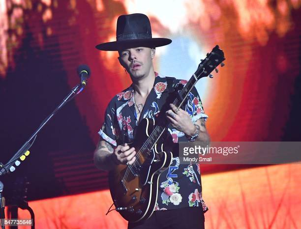 Recording artist Jesse Huerta of Jesse Y Joy performs at the Mandalay Bay Events Center on September 15 2017 in Las Vegas Nevada