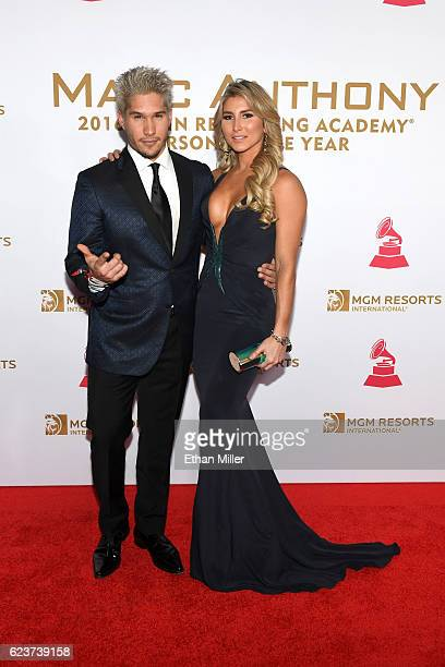 Recording artist Jesus Alberto Miranda Perez of Chino and guest attend the 2016 Person of the Year honoring Marc Anthony at MGM Grand Garden Arena on...