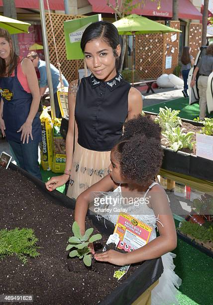 Recording artist Jhene Aiko and daughter Namiko Love Browner attend the world premiere Of Disney's Monkey Kingdom at Pacific Theatres at The Grove on...