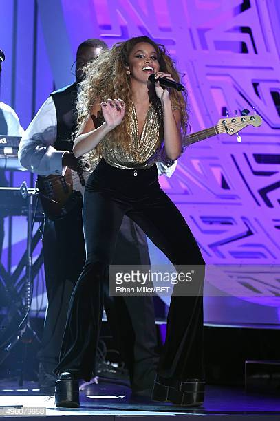 Recording artist Jillian Hervey of Lion Babe performs onstage during the 2015 Soul Train Music Awards at the Orleans Arena on November 6 2015 in Las...