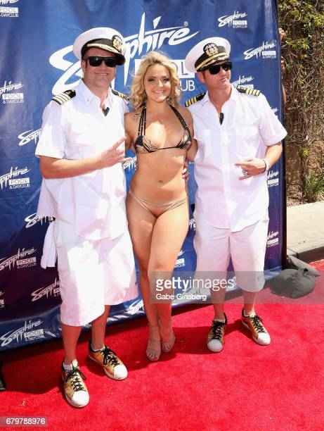 Recording artist Jimbo of HardNox adult film actress Alexis Texas and recording artist Danny Boy of HardNox attend a pool party hosted by model Blac...