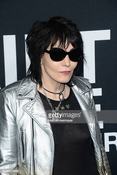 Recording artist Joan Jett in Saint Laurent by Hedi Slimane arrives at the Saint Laurent show at the Hollywood Palladium on February 10 2016 in Los...