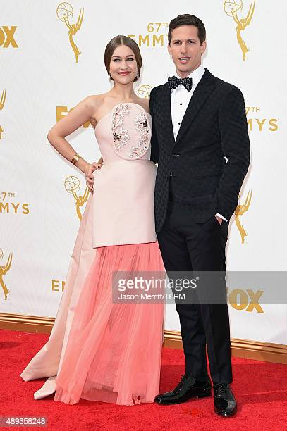 Recording artist Joanna Newsom and host Andy Samberg attend the 67th Annual Primetime Emmy Awards at Microsoft Theater on September 20 2015 in Los...