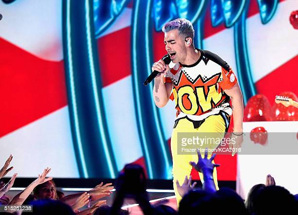 Recording artist Joe Jonas performs onstage during Nickelodeon's 2016 Kids' Choice Awards at The Forum on March 12 2016 in Inglewood California