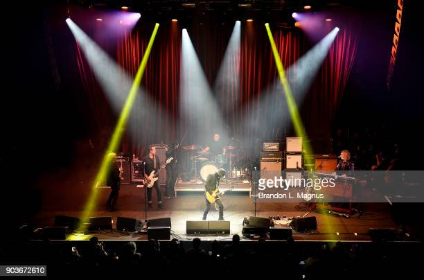 Recording artist Joe Perry performs during a Monster Inc CES party at Brooklyn Bowl Las Vegas at The Linq Promenade on January 10 2018 in Las Vegas...