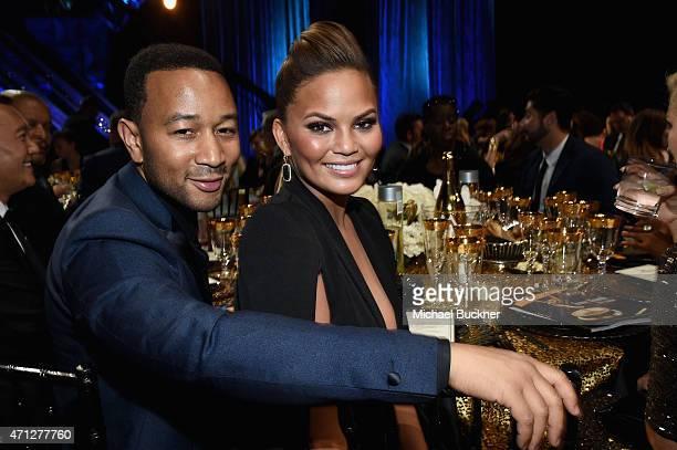 Recording artist John Legend and model Chrissy Teigen attend The 42nd Annual Daytime Emmy Awards at Warner Bros Studios on April 26 2015 in Burbank...