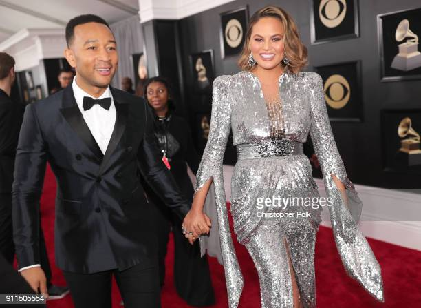 Recording artist John Legend and model Chrissy Teigen attend the 60th Annual GRAMMY Awards at Madison Square Garden on January 28 2018 in New York...