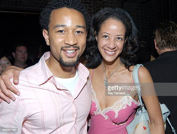 Recording artist John Legend and Sony Urban executive Lisa Ellis attend the Black Eyed Peas' Monkey Business Album Release Party at the Hudson Hotel...
