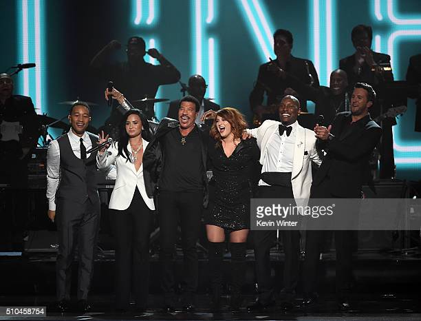 Recording artist John Legend Demi Lovato 2016 MusiCares Person of the Year honoree Lionel Richie recording artists Meghan Trainor Tyrese Gibson and...