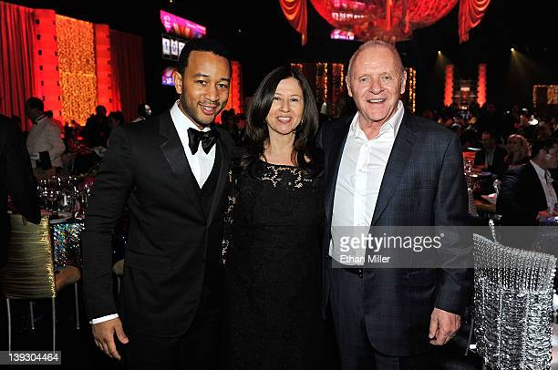 Recording artist John Legend Stella Arroyave and actor Anthony Hopkins attend the Keep Memory Alive foundation's Power of Love Gala celebrating...