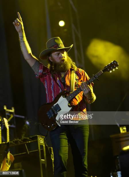 Recording artist John Osborne of Brothers Osborne performs during the Route 91 Harvest country music festival at the Las Vegas Village on September...