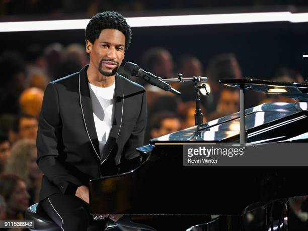 Recording artist Jon Batiste performs onstage during the 60th Annual GRAMMY Awards at Madison Square Garden on January 28 2018 in New York City