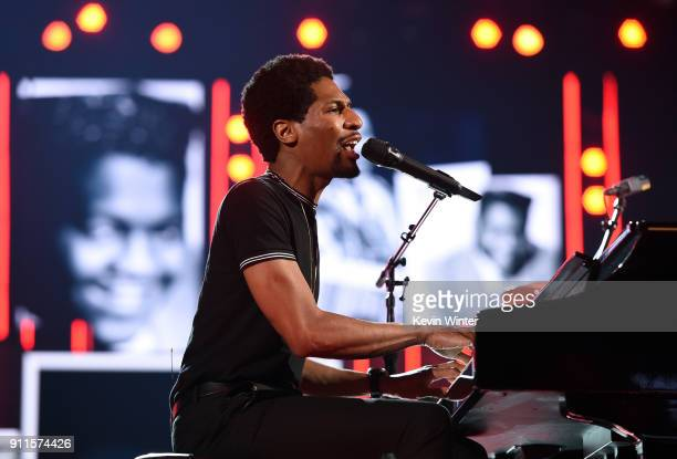 Recording artist Jon Batiste rehearses onstage for the 60th Annual GRAMMY Awards at Madison Square Garden on January 27 2018 in New York City