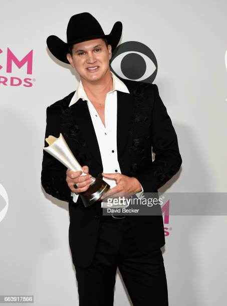 Recording artist Jon Pardi winner of the award for New Male Vocalist of the Year poses in the press room during the 52nd Academy Of Country Music...