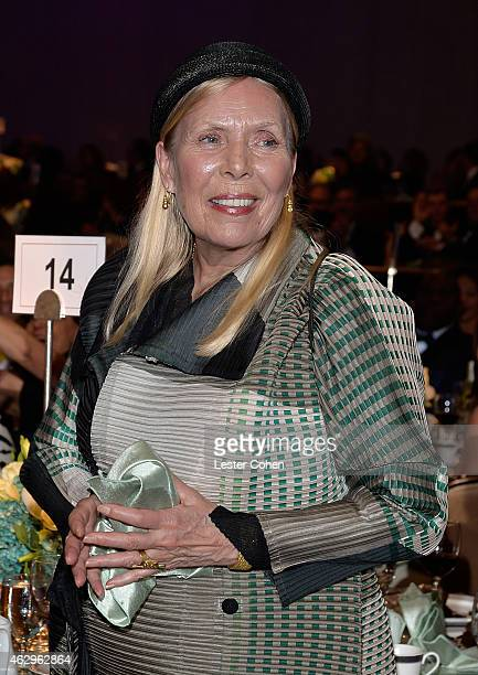 Recording artist Joni Mitchell attends the PreGRAMMY Gala and Salute to Industry Icons honoring Martin Bandier at The Beverly Hilton Hotel on...