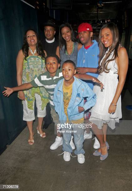 Recording artist Joseph Run Simmons of the show Run's House poses with his family Justine Diggy Vanessa Russy Jojo and Angela on MTV's Total Request...