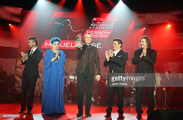 Recording artist Juanes actress Lucia Bose honoree Miguel Bose recording artist Alejandro Sanz and Chairman of the Latin Recording Academy Luis Cobos...