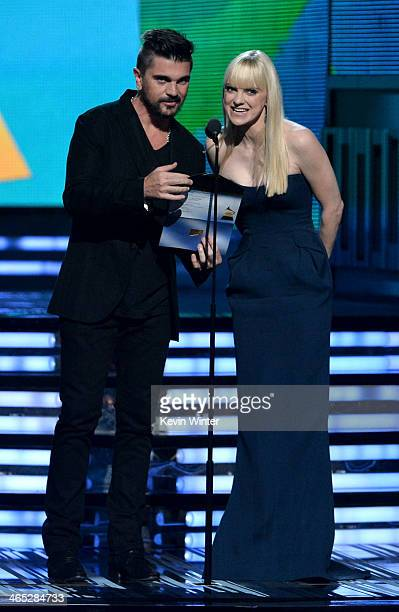 Recording artist Juanes and actress Anna Faris speak onstage during the 56th GRAMMY Awards at Staples Center on January 26 2014 in Los Angeles...