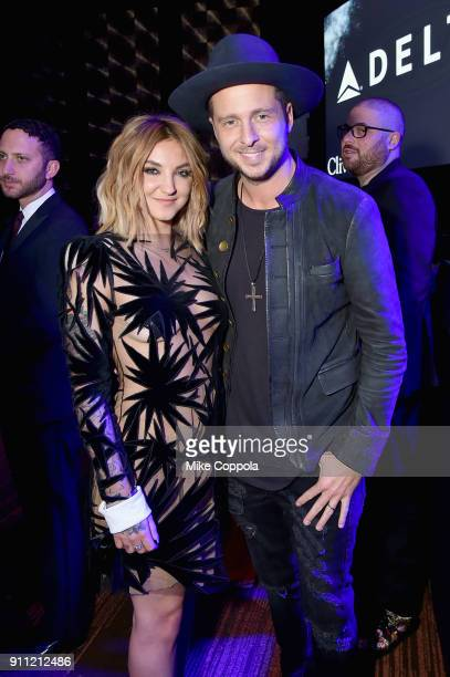 Recording artist Julia Michaels and recording artist Ryan Tedder of One Republic attend the Clive Davis and Recording Academy PreGRAMMY Gala and...