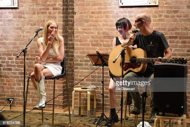 Recording artist Julie Mintz and Moby perform at Sofar Sounds NYC at ONS Clothing on June 18 2018 in New York City