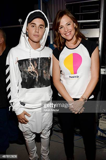 Recording artist Justin Bieber and actress Jennifer Garner attend the Think It Up education initiative telecast for teachers and students hosted by...