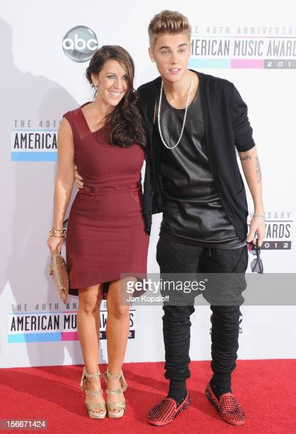 Recording artist Justin Bieber and mom Pattie Mallette arrive at The 40th American Music Awards at Nokia Theatre LA Live on November 18 2012 in Los...