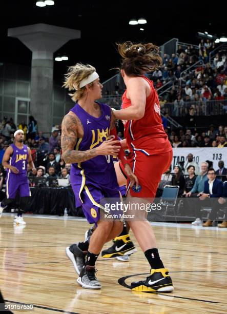 Recording artist Justin Bieber and WNBA player Stefanie Dolson play during the NBA AllStar Celebrity Game 2018 presented by Ruffles at Verizon Up...