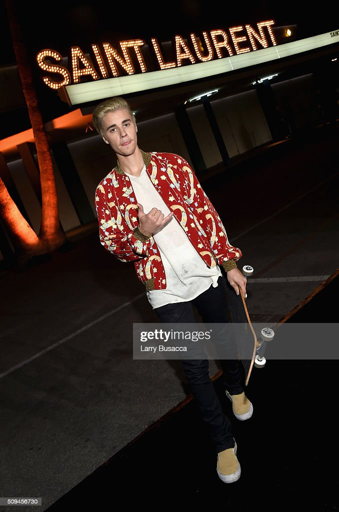 Recording artist Justin Bieber, in Saint Laurent by Hedi Slimane, attends Saint Laurent at the Palladium on February 10, 2016 in Los Angeles, California for the Saint Laurent Los Angeles show.