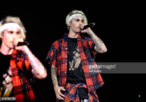 Recording artist Justin Bieber performs at the 2016 Purpose World Tour at Staples Center on March 20 2016 in Los Angeles California