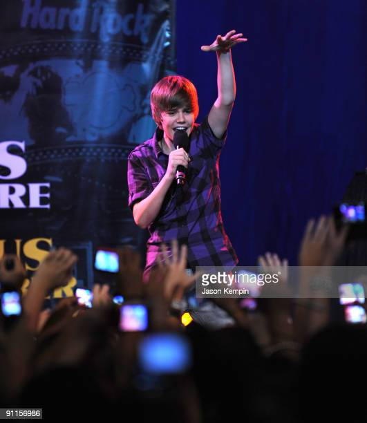 Recording artist Justin Bieber performs at the 3rd annual Tiki Rocks The Square for the Children's Miracle Network at the Hard Rock Cafe Times Square...