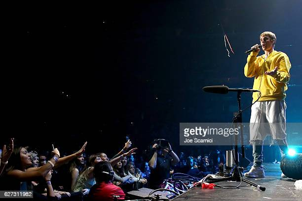 Recording artist Justin Bieber performs onstage during 1027 KIIS FM's Jingle Ball 2016 presented by Capital One at Staples Center on December 2 2016...