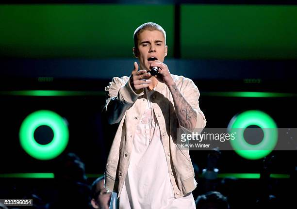 Recording artist Justin Bieber performs onstage during the 2016 Billboard Music Awards at TMobile Arena on May 22 2016 in Las Vegas Nevada