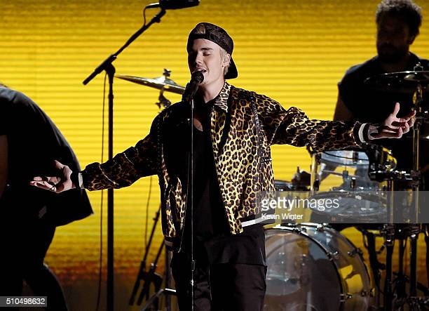 Recording artist Justin Bieber performs onstage during The 58th GRAMMY Awards at Staples Center on February 15 2016 in Los Angeles California