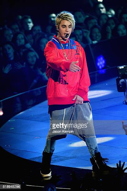 Recording artist Justin Bieber performs onstage during the iHeartRadio Music Awards at The Forum on April 3 2016 in Inglewood California
