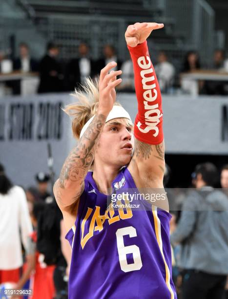 Recording artist Justin Bieber practices during the NBA AllStar Celebrity Game 2018 presented by Ruffles at Verizon Up Arena at LACC on February 16...