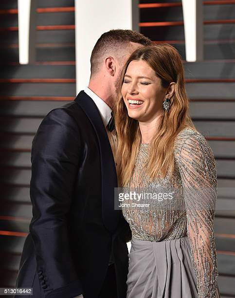 Recording artist Justin Timberlake and actress Jessica Biel arrive at the 2016 Vanity Fair Oscar Party Hosted By Graydon Carter at Wallis Annenberg...