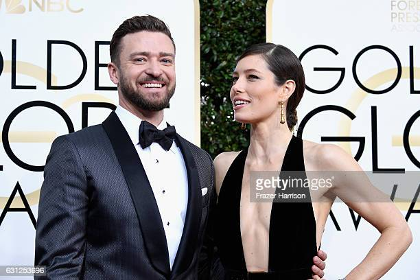 Recording artist Justin Timberlake and actress Jessica Biel attend the 74th Annual Golden Globe Awards at The Beverly Hilton Hotel on January 8 2017...