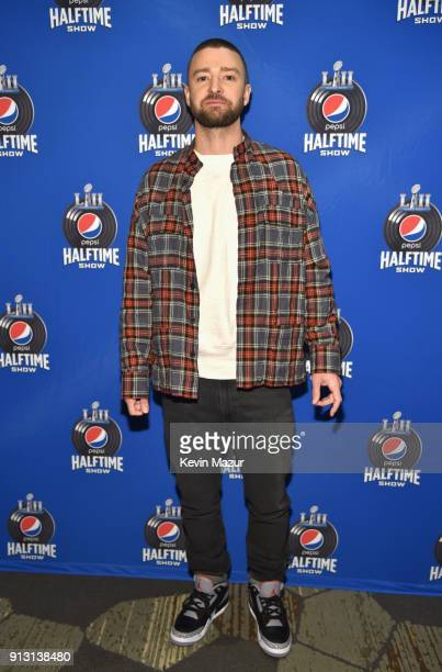 Recording artist Justin Timberlake attends the Pepsi Super Bowl LII Halftime Show Press Conference at Hilton Minneapolis on February 1 2018 in...