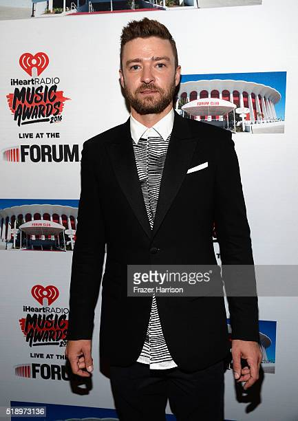 Recording artist Justin Timberlake backstage at the iHeartRadio Music Awards which broadcasted live on TBS TNT AND TRUTV from The Forum on April 3...