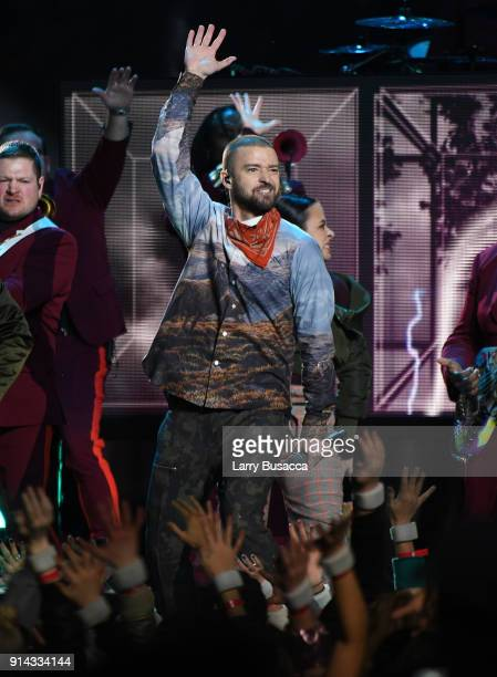 Recording artist Justin Timberlake performs onstage during the Pepsi Super Bowl LII Halftime Show at U.S. Bank Stadium on February 4, 2018 in...