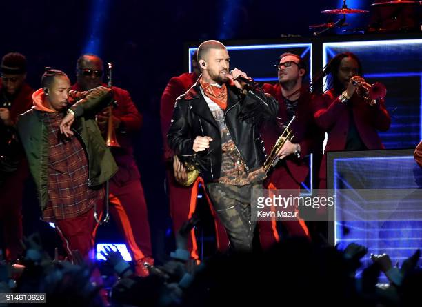 Recording artist Justin Timberlake performs onstage during the Pepsi Super Bowl LII Halftime Show at US Bank Stadium on February 4 2018 in...